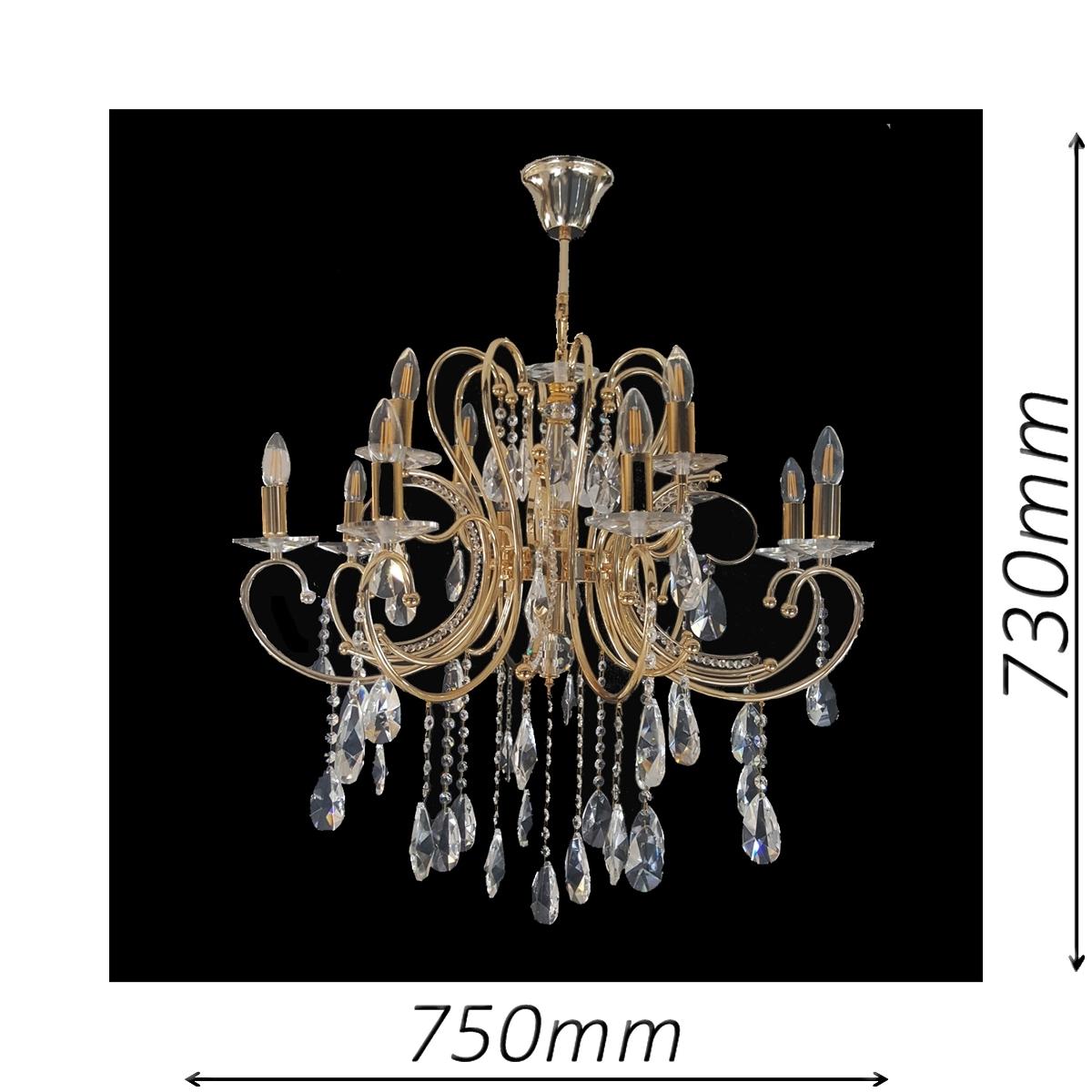Buckingham 750 Gold Chandelier - CRPBUC12750GD