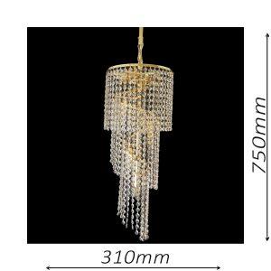 Spiral 310 Gold Chandelier - CRPSPI08310GD
