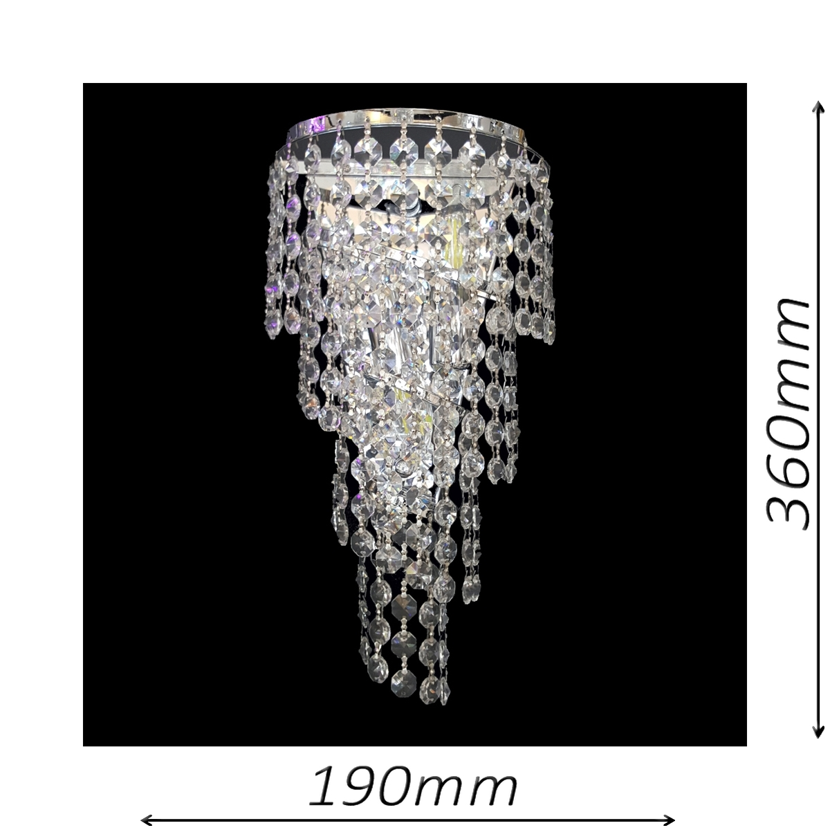 Spiral Large Chrome Wall Light - CRWSPI02190CH